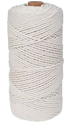 SUPRBIRD Makramee Garn 3 mm x 200 m Baumwollgarn Baumwollkordel für DIY Handwerk Basteln Wand Aufhängung Pflanze Aufhänger