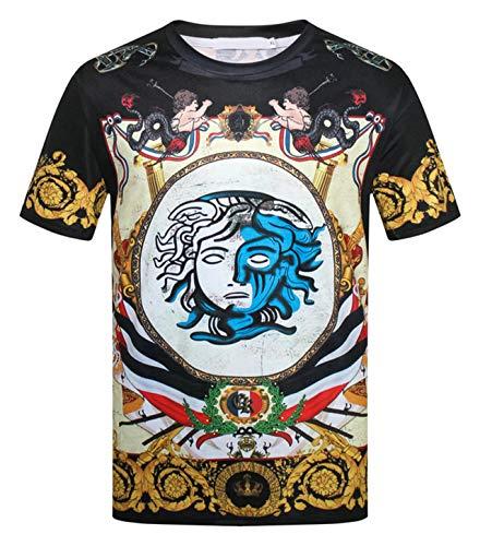 PIZOFF Unisex Kurzarm Tropische 3D Druck T-Shirts Chinesische Japanische und Barock Stil Medusa 01030002X08+XXL