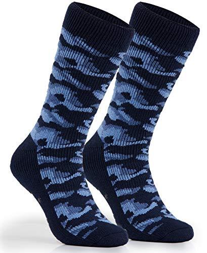 CityComfort Calcetines Antideslizantes Hombre, Calcetines Hombre Invierno, Calcetines Para Casa Forro Suave, Regalos Originales Para Hombre Adolescente (Azul Marino)