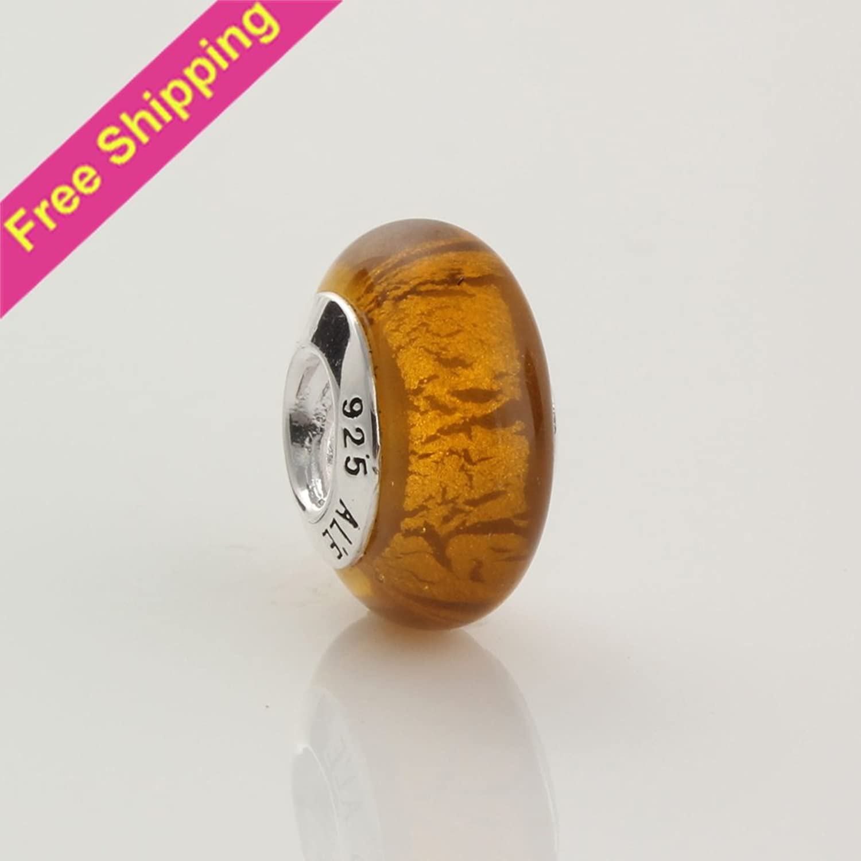 69e87c5ed049 KDESIGN 14mm golden Gorgeous 925 Silver Inner Flower Lampwork Glass ...