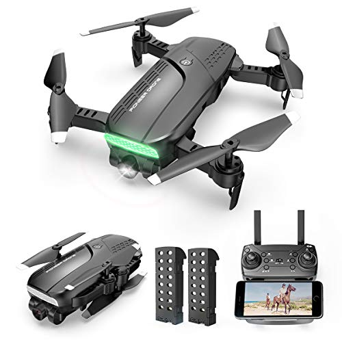 Drones with Camera for Adults 720P HD - Foldable FPV WiFi RC Quadcopter, 120° Wide-Angle Live Video Camera, Altitude Hold, Easy to Fly for Beginners, 2 Batteries