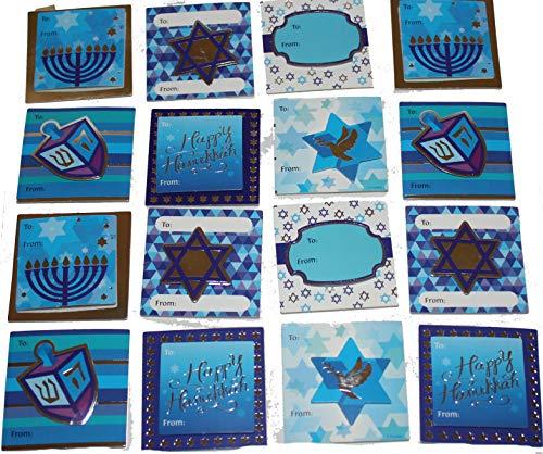 16 2' x 2' Hanukkah, Chanukah Self Adhesive Handmade Gift Tags