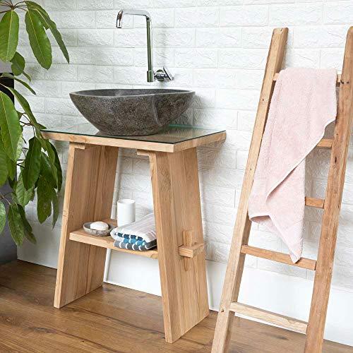 wohnfreuden Waschtisch aus Teak-Holz 74 cm hoch - 60 cm lang ✓ geschliffene Oberfläche ✓ ideal für Naturstein Aufsatzbecken ✓ Waschbecken Unterschrank für Gäste WC Bad