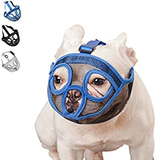 wintchuk Short Snout Dog Muzzle Mesh Mask-Stop Dog for Biting Barking Chewing, Adjustable(M, Blue)
