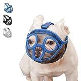 Short Snout Dog Muzzle Mesh Mask-Stop Dog for Biting Barking Chewing, Adjustable(XL/Blue)
