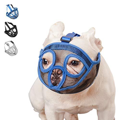 wintchuk Short Snout Dog Muzzle Bulldog Muzzle, Stop Dog for Biting Barking Chewing, Adjustable(M, Blue)