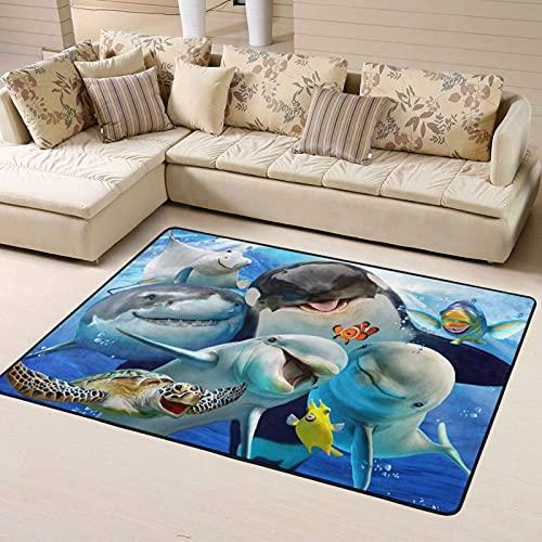 Alfombra de Dormitorio Lovely Ocean Animals Cute Selfie Non Slip Area Rugs 63 X 48 Inch, Carpet for Home Dining Room Playroom Living Room Large Floor Rug Floor Mat