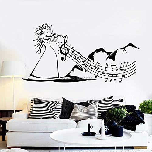 DLYD Musik Kunst Frau Vinyl Wandtattoo Volksmusik Geige Wandaufkleber Wandbild einzigartige Wohnkultur Musik Tapete Wohnzimmer 108x54cm