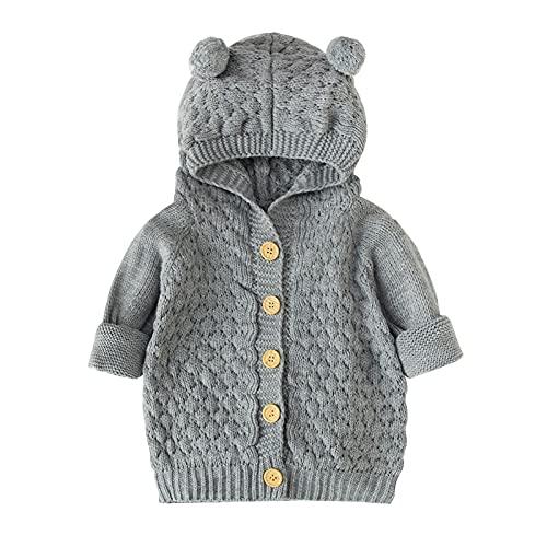 YQSR - Ropa de bebé recién nacido para bebé o niña, abrigo de invierno, abrigo cálido con capucha, abrigo de punto con capucha