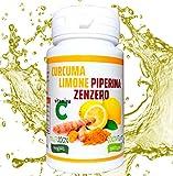 Curcuma e Piperiana Plus zenzero limone vitamina C- 130 cpr-Antiossidante Dosaggio Naturale di estratto Curcumina Potente e veloce Brucia Grassi-Antinfiammatorio