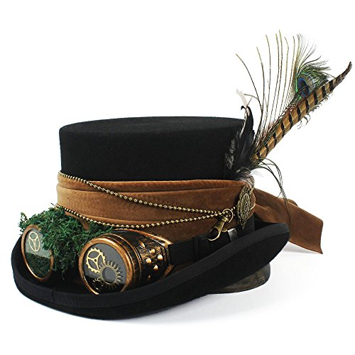 Hat Tages Zubehör Wide Brim Hutmacher-Piraten-Hut Alice im Wunderland Steampunk Zylinder (Color : Black, Size : 57cm)