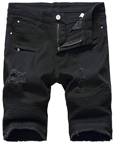 chouyatou Men's Cool Stylish Wrinkle Performance Slim Ripped Denim Shorts (40, Black)