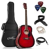 Ashthorpe Full-Size Dreadnought Acoustic-Electric Guitar Bundle - Premium Tonewoods - Red