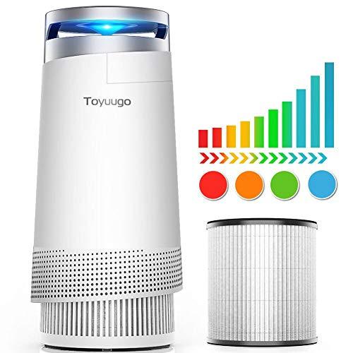 Luftreiniger, Toyuugo Anion air Purifier HEPA-Filter(99,97{a92badba25a09bc90a5f0b70f6bc30278602e38e728f9b11c5210f0b8f382024} Filterleistung) mit Aktivkohlefilter mit LED Nacht Light für Allergiker und Raucher