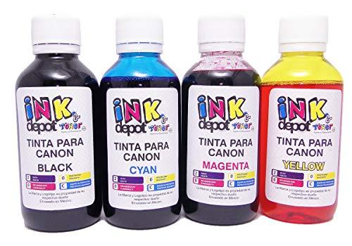 Ink Depot Juego de 4 Tintas Marca Compatible con Canon para Recarga de impresoras, multifuncionales,...