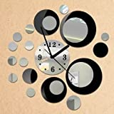 Alrens_DIY(TM) Black and Silver Rounds Wall Clock Mirror Wall Clock Modern Design Removable DIY Acrylic 3D Mirror Wall Decal Wall Sticker Decoration