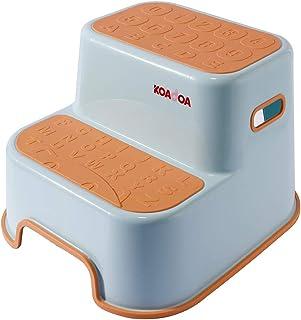 KOADOA 踏み台 子供 ステップ 2段 幼児 大人 ステップスツール 子ども 洗面所 トイレ お風呂用 滑り止め (オレンジ)
