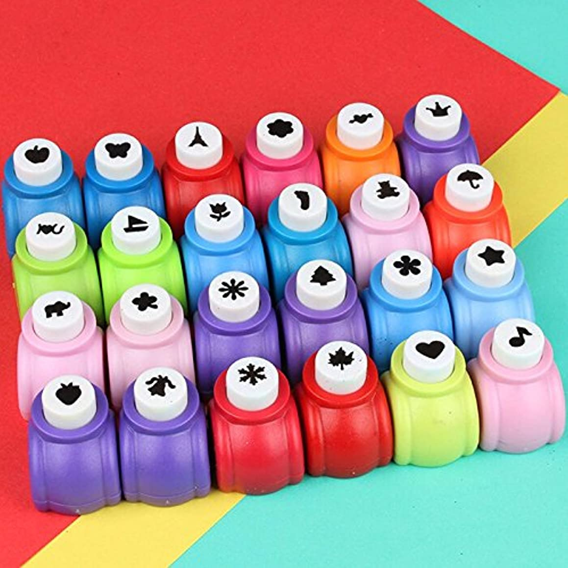 Fascola Mini Paper Craft Punch Card Scrapbooking Engraving Kid Cut DIY Handmade Hole Puncher for Festival Papers and Greeting Card Set of 20 with Random Colors (Set of 20)