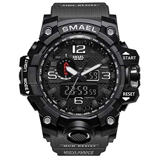 Marken-Mann-Sportuhr Dual Display Analog-Digital-LED Elektronische Quarz-Armbanduhr-wasserdichte Schwimmen Military Watch, Farbe: 1545 Orange Versenden von: China (Color : 1545 Gray Black)