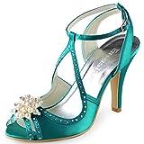 ElegantPark EP11058 Mujer Peep Toe la Tacón de Aguja Perla Rhinestone Satén Zapatos de Fiesta Boda Sandalias Teal 42