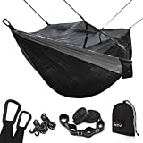 AnorTrek Camping Hammock with Mosquito Net, Double & Single Lightweight Portable Hammocks with Tree Straps & Carabiners, Parachute Hammock for Camping, Backpacking, Traveling & Hiking (Black&Gray)
