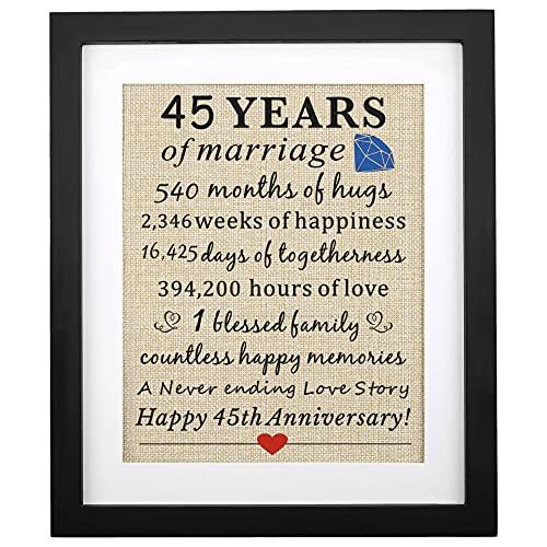 Corfara Framed 45 Years of Marriage Burlap Print 11' W X 13' H, 45th...