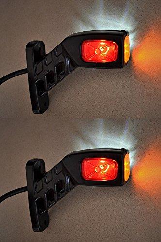 Feux de position latéraux LED - 12 / 24 V - Fixation au châssis - Pour camions et camions bennes - Rouge / Blanc / Orange - Lot de 2