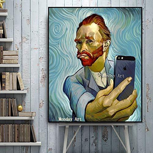 wojinbao DIY Digital Painting-Adult's Paint von Number Kits-Modern Van Gogh Porträt DIY Digital Painting von Numbers Kits auf Leinwand(Kein Rahmen)