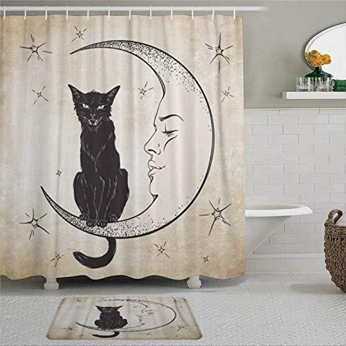 EricauBird Cortina de ducha con diseño de gato negro vintage con diseño de luna sentada Wiccan con grabado de espíritu familiar con anillas, tela de poliéster, cortinas de ducha con ganchos para baño
