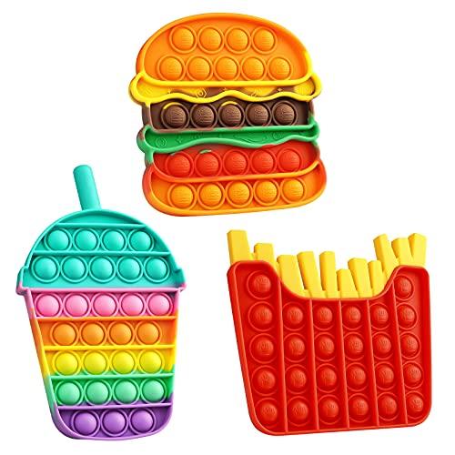VOFOLEN 3 Pizzas Pop Push It Bubble Juguete sensorial Fidget, Push Antiestrés Rainbow Squeeze Juguetes Silencioso Aula Lógica Juguetes de Entrenamiento para bebés, Hamburguesas, Papas Fritas y Crema