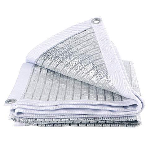 XISENOCI Tenda a Vela in alluminio riflettente, copertura per pannello solare, Resistente ai raggi UV per Patio da giardino, Argento, 3 m x 4 m