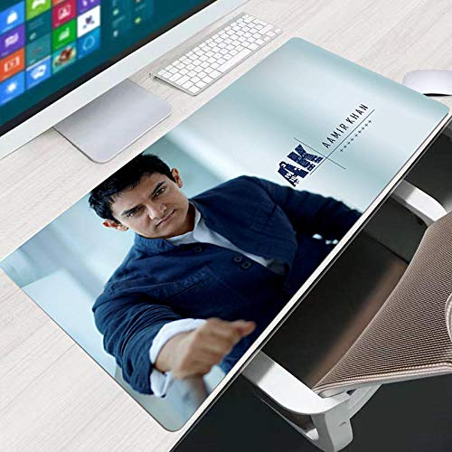 LJUKO Large Gaming Mouse Pad India Actor Amir Movie 35.4x15.7 inch Non-Slip Desk Pad, Waterproof Desk Table Protector, Large Mouse Pad, Easy Clean Laptop Desk Writing Mat for Office Work/Home