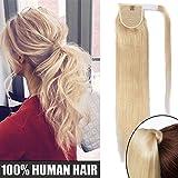 Queue de Cheval Extension Cheveux Humain Rajout Cheveux Naturel Lisse - Wrap Around Ponytail Clip in Hair Extensions - #613 BLOND TRES CLAIR - 20 Pouce/50cm