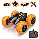 Remote Control Car, Vazillio RC Cars Stunt Car Toy, 2.4Ghz Hot Speed Racing Car, Stand 360° Rotate RC Car with Headlights, for Boys and Girls (Orange)