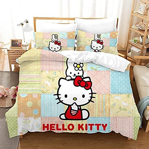 AQLMBF Kitty White - Juego de funda de edredón y funda de almohada (100% microfibra), diseño de anime japonés, color blanco