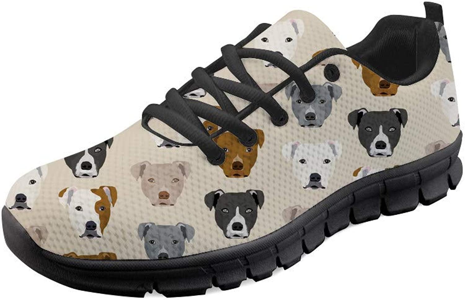 WHEREISART Stylish Flowers Dogs Fashion Women's Sneaker Comfortable Breathable Athletic Walking Running shoes