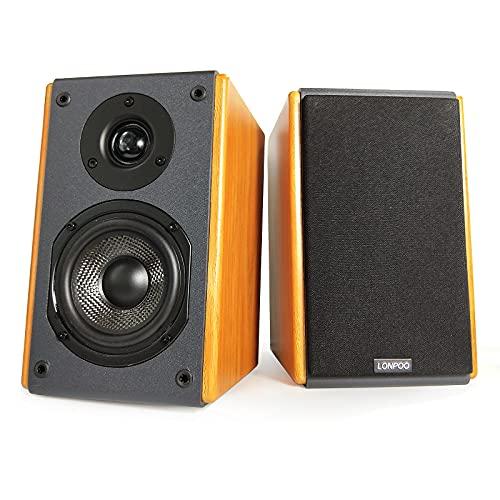 LONPOO LP42X Diffusori da Scaffale Attivi, Altoparlanti da scaffale home audio con ingresso AUX RCA, Amplificatore incorporato Altoparlante da scaffale alimentato stereo in legno