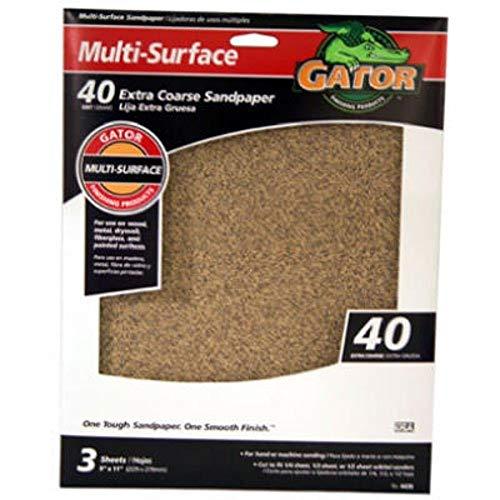 ALI INDUSTRIES Gator Finishing 4439 Folhas de lixa de óxido de alumínio de 40 grãos (pacote com 3), 23 cm x 28 cm