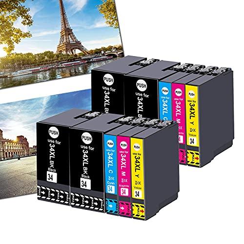 OGOUGUAN 34XL - Cartuchos de tinta compatibles con Epson Workforce Pro WF-3725DWF WF-3720DWF, 4 colores T3476 (4 negro, 2 cian, 2 magenta, 2 amarillo)