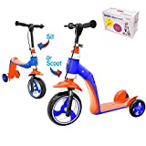 Verkstar Kick Scooter for Kids Toddlers Girls Boys, 2 in 1 Kids Scooter with Handbrake, Adjustable Handle, Extra-Wide Deck, The Latest Outdoor Toys for Kids Activities (Orange & Blue)