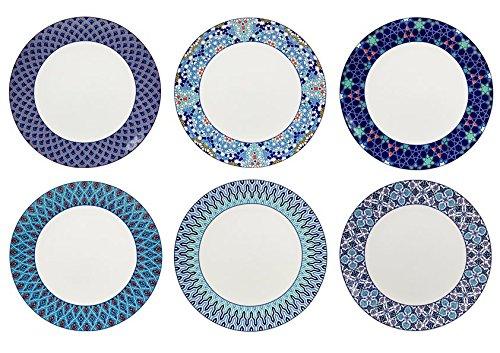 Ard'time EC-6AZASGM Lot 6 Assiettes, Céramique, Bleu/Blanc, 26 cm