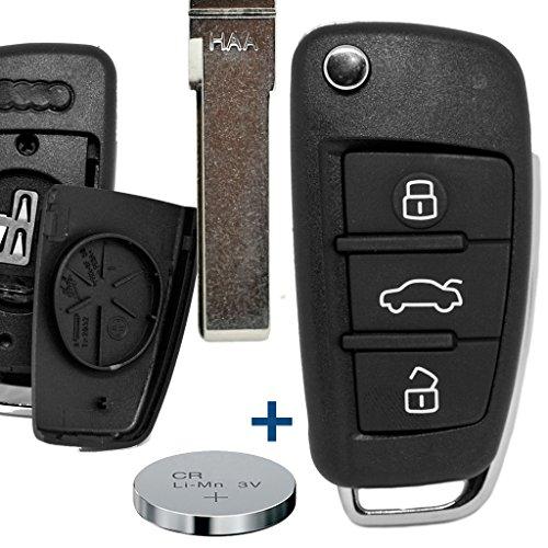 Klapp Schlüssel Gehäuse Funkschlüssel Fernbedienung Autoschlüssel HAA + Batterie für Audi
