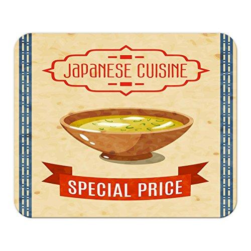 Gaming Mauspad mit Fotodruck Mousepad 220 x 180 mm Rutschfest Schwarz Fransenfreier Rand Präzision Asiatische Kunst gebratener Reis bedruckt Japan China