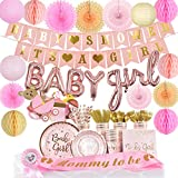 All in one Baby Shower Decorations For Girl, 242 pcs Party Supplies - It's A Girl Baby Shower Banners, Paper Lanterns, Honeycomb Balls, Paper Fans, Baby girl Balloon set, Mommy To Be Sash, Dad To Be Pin, Plates, Cups, Tableware, Napkins - Complete set, Easy to set up, Service for 24 Guests - By Antsik'Aby