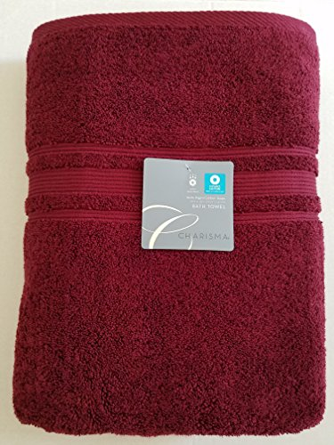 Charisma Bath Towel - 100% Hygro Cotton, 30 x 58 in, Port Bath Burgundy Red