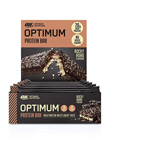 Optimum Nutrition ON Protein Bar Barritas Proteínas con Whey Protein Isolate, Dulces Altas en Proteína y Low Carb, Rocky Road, 10 Barras (10 x 60 gr)