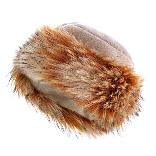 Futrzane Vello Cappello Cosacco di Ecopelliccia Donna di Inverno (M, Beige - Pernice)