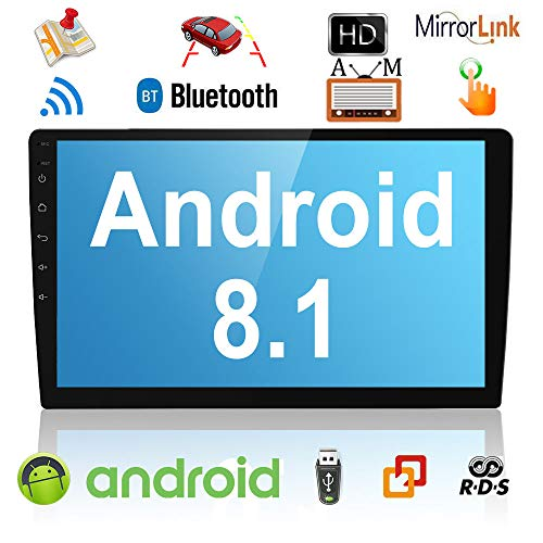 Liehuzhekej Android 8.1 Double Din Car AM Radio Receiver, 10.1 Zoll 2.5D Gebogen HD Touchscreen Auto Radio Head Unit, Unterstützung GPS Bluetooth Radio Android &IOS Mirror Link Dual USB/Subwoofer