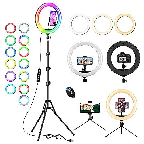 Anillo de luz de 12 Pulgadas con trípode Extensible de 150 Pulgadas y Soporte de teléfono para Maquillaje en Vivo, lámpara LED de Escritorio con luz LED Regulable para 20 Modos RGB, 13 Brillo