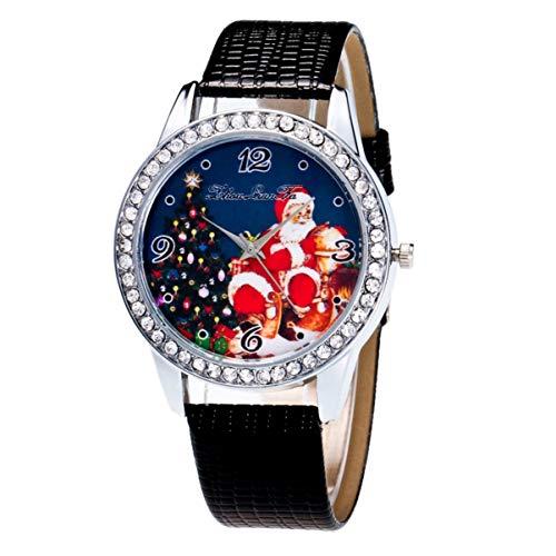 ibasenice Reloj con Estampado de Santa Claus Reloj de Lectura Fácil con Correa de Cuero para Niños Mujer